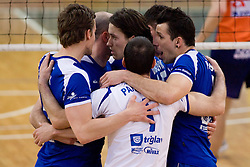 Salonit celebrate at final match of Slovenian National Volleyball Championships between ACH Volley Bled and Salonit Anhovo, on April 24, 2010, in Radovljica, Slovenia. ACH Volley defeated Salonit 3rd time in 3 Rounds and became Slovenian National Champion.  (Photo by Vid Ponikvar / Sportida)