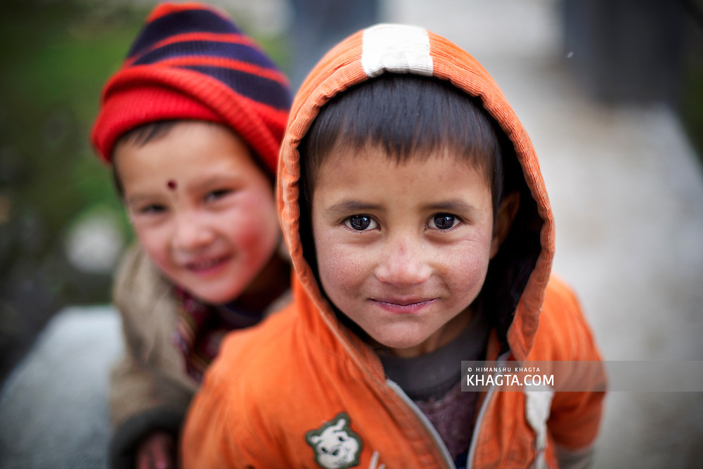 Cute Himalayan Kids from the Himalayan Village of Chitkul, Kinnauri, Himachal Pradesh Smiling for the camera.