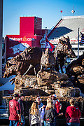 FAYETTEVILLE, AR - OCTOBER 27:  Wild Band of Razorbacks monument outside of Donald W. Reynolds Razorback Stadium of the Arkansas Razorbacks before a game against the Vanderbilt Commodores at Razorback Stadium on October 27, 2018 in Fayetteville, Arkansas.  The Commodores defeated the Razorbacks 45-31.  (Photo by Wesley Hitt/Getty Images) *** Local Caption ***
