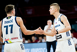 Luka Doncic of Slovenia and Edo Muric of Slovenia during basketball match between National Teams of Slovenia and Latvia at Day 13 in Round of 16 of the FIBA EuroBasket 2017 at Sinan Erdem Dome in Istanbul, Turkey on September 12, 2017. Photo by Vid Ponikvar / Sportida