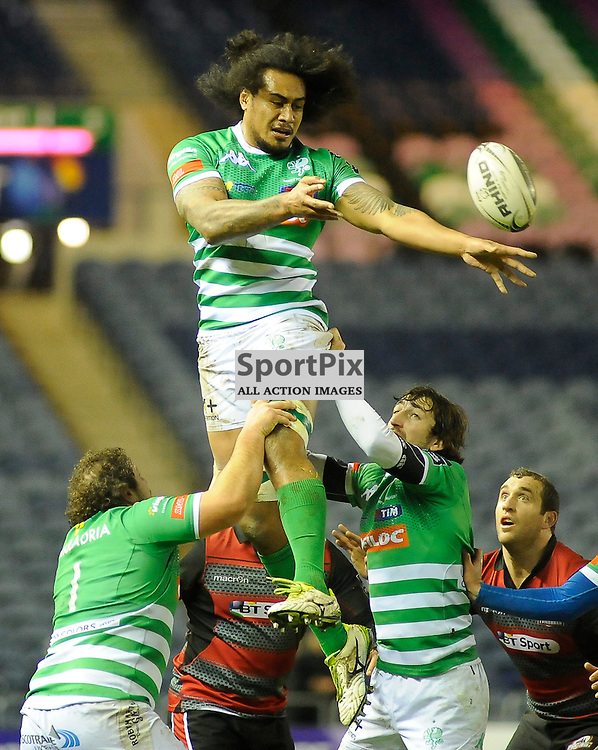 Filo Paulo wins line out ball during the Edinburgh Rugby v Treviso Guinness PRO12 game, ......(c) COLIN LUNN | SportPix.org.uk