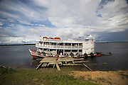 The boat Genesis III at Rio Negro (Black River), Amazonas State, Brazil.
