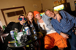 October 31, 2005. New Orleans, Louisiana. <br /> Halloween, post Katrina, New Orleans. As the city returns to a strange sense of normalcy and the citizens return, New Orleans once again hosts a Halloween parade and party. Josh Clarke and friends at the Spotted Cat.  <br /> Photo; ©Charlie Varley/varleypix.com