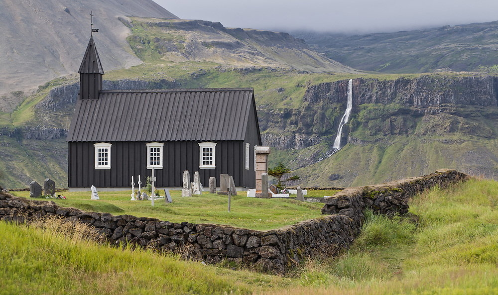 Classic architecture for rural church on the Snaefellsnes Peninsula, Iceland