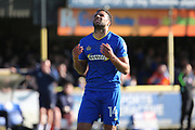 AFC Wimbledon midfielder Tom Soares (14) after a shot on goal during the EFL Sky Bet League 1 match between AFC Wimbledon and Southend United at the Cherry Red Records Stadium, Kingston, England on 25 March 2017. Photo by Matthew Redman.