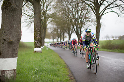 Tayler Wiles (USA) of Orica-AIS Cycling Team leads the chasing peloton in the first, 106.9km road race stage of Elsy Jacobs - a stage race in Luxembourg, in Steinfort on April 30, 2016