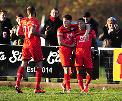 AARON O'CONNOR CELEBRATES AFTER SCORING  KETTERING TOWN FIRST GOAL, Kettering Town v Gosport Borough FC, Evo Stik Southern Premier League Latimer Park Saturday 25th November 2017, Score 2-0.<br /> Photo:Mike Capps