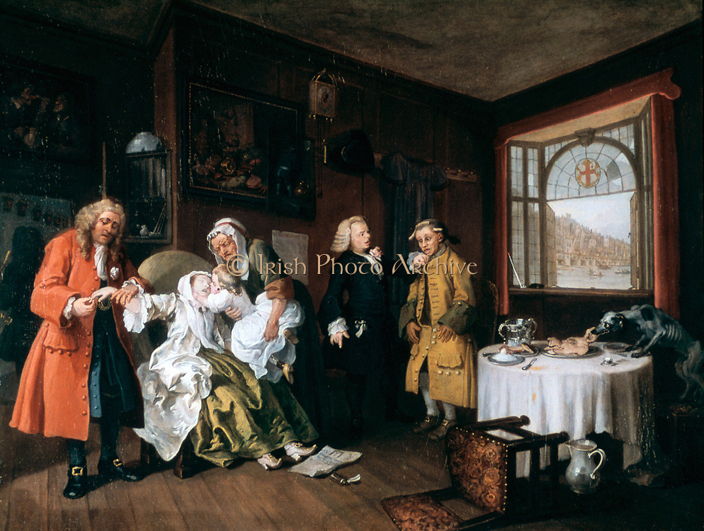 Marriage a la Mode: Suicide of the Countess', 1743. Oil on canvas.Wiliam Hogarth (1697-1764) English painter, printmaker, cartoonist.  Final image of satirical moral series on an aristocratic marriage arranged for money.