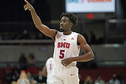 SMU Mustangs guard Emmanuel Bandoumel (5) gives instruction to the offense against Hartford Hawks during an NCAA college basketball game, Wednesday, Nov. 27, 2019, in Dallas.SMU defeated Hartford 90-58. (Wayne Gooden/Image of Sport)