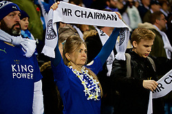 "LEICESTER, ENGLAND - Saturday, November 10, 2018: A Leicester City supporter holds up a scarf ""Mr Chairman"" as the club pays tribute to chairman Vichai Srivaddhanaprabha, who died in a helicopter crash on Oct 27, during the FA Premier League match between Leicester City FC and Burnley FC at the King Power Stadium. (Pic by David Rawcliffe/Propaganda)"