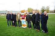 Members of the Taunton Town FA Cup team of 1981 with club mascot Wordsworth at the Virador Stadium before the The FA Cup match between Taunton Town and Barrow at the Viridor Stadium, Taunton, United Kingdom on 6 November 2016. Photo by Graham Hunt.