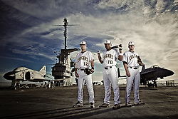 CofC Baseball Team on the deck of the USS Yorktown for their team poster.