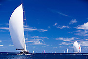 Sojana, Zefira and Twizzle sailing in the Caribbean Superyacht Regatta and Rendezvous, race 1.