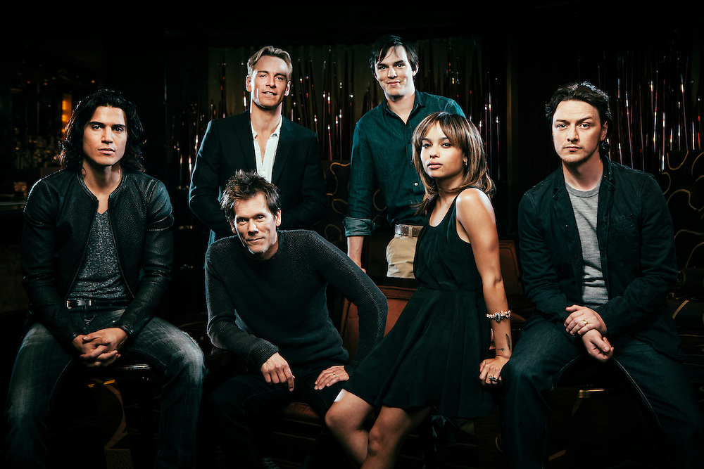From left, actors Alex Gonzalez, Kevin Bacon (seated), Michael Fassbender, Nicholas Hoult, Zoe Kravitz and James McAvoy, pose for portrait photographs at<br />