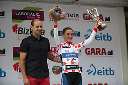 Ashleigh Moolmann-Pasio (RSA) of Cervélo-Bigla Cycling Team takes back the best climber's jersey after Stage 3 of the Emakumeen Bira - a 77.6 km road race, starting and finishing in Antzuola on May 19, 2017, in Basque Country, Spain. (Photo by Balint Hamvas/Velofocus)