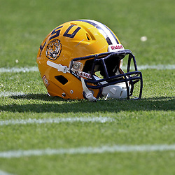 April 9, 2011; Baton Rouge, LA, USA;  A detailed view of a LSU Tigers helmet on the field during the 2011 Spring Game at Tiger Stadium.   Mandatory Credit: Derick E. Hingle