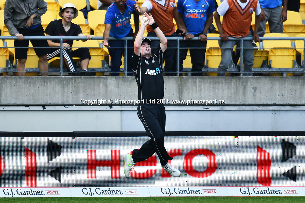 Blackcaps Colin Munro talks the catch of Ben Stokes during the Third ODI game between Black Caps v England, Westpac Stadium, Wellington, Saturday 03rd March 2018. Copyright Photo: Raghavan Venugopal / © www.Photosport.nz 2018