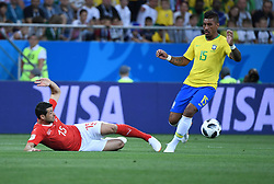 ROSTOV-ON-DON, June 17, 2018  Paulinho (R) of Brazil vies with Blerim Dzemaili of Switzerland during a group E match between Brazil and Switzerland at the 2018 FIFA World Cup in Rostov-on-Don, Russia, June 17, 2018. (Credit Image: © Li Ga/Xinhua via ZUMA Wire)