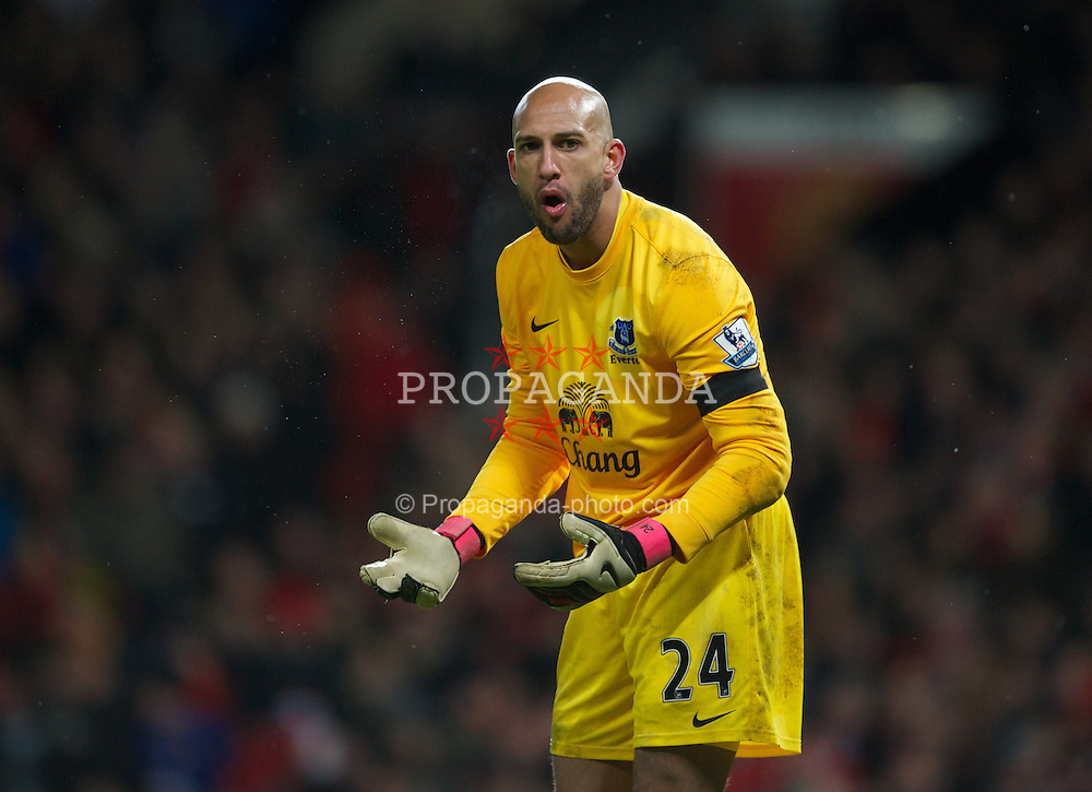 MANCHESTER, ENGLAND - Sunday, February 10, 2013: Everton's goalkeeper Tim Howard in action against Manchester United during the Premiership match at Old Trafford. (Pic by David Rawcliffe/Propaganda)