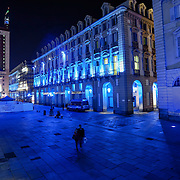 Palazzo della Regione Piemonte in Piazza Castello<br /> Torino in blu per la Settimana Europea della Cultura<br /> a Torino(dal 23 al 28 settembre 2014)<br /> i principali monumenti e musei della città illuminati di blu<br /> da Iren Servizi e Innovazione, la Società <br /> del Gruppo Iren che in città gestisce 99.000 punti luce, <br /> alimentati da una rete elettrica di 2.900 chilometri.
