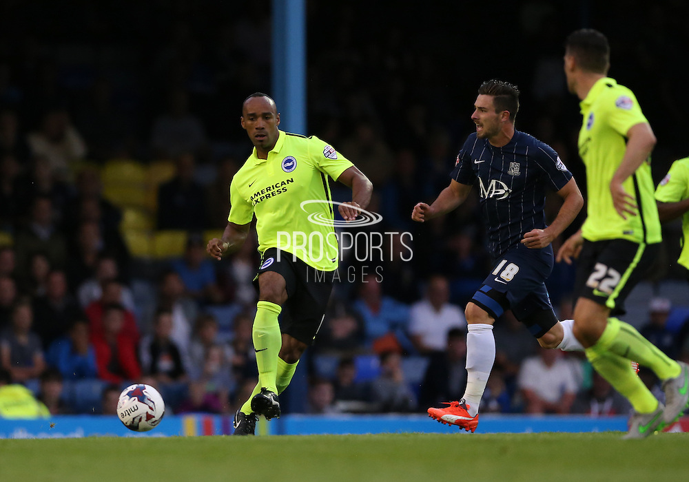 Brighton striker, Chris O'Grady during the Capital One Cup match between Southend United and Brighton and Hove Albion at Roots Hall, Southend, England on 11 August 2015.