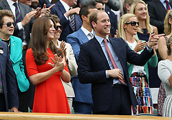© London News Pictures. HRH The Duke and Duchess  of Cambridge watch Andrew Murray (GB) beat Vasek Pospisil (CAN) in centre court at the Wimbledon Tennis Championships today 08.07.2015. Photo credit: LNP