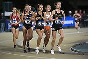 Emily Royston (681) of Milwaukee, Taylor Somers (962) of Oklahoma State, Jordyn Kleve (722) of Missouri and Alyssa Snyder (1551) of Utah Staterun in the women's 10,000m during the NCAA West Track & Field Preliminary, Thursday, May23, 2019, in Sacramento, Calif.