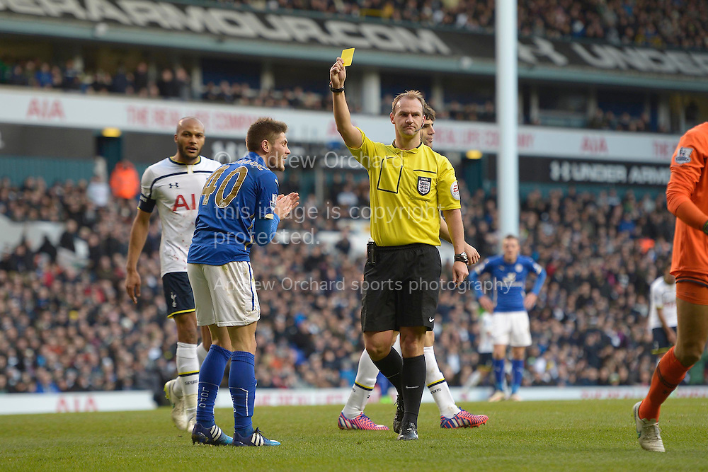 Referee Robert Madley gives a yellow card to Andrej Kramaric of Leicester City for a simulated dive. FA cup 4th round match, Tottenham Hotspur v Leicester city at White Hart Lane in London on Saturday 24th Jan 2015. pic by John Patrick Fletcher, Andrew Orchard sports photography.