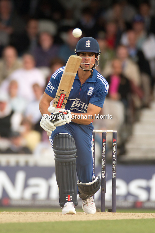 Alastair Cook bats during the third NatWest Series one day international between England and South Africa at the Kia Oval, London. Photo: Graham Morris (Tel: +44(0)20 8969 4192 Email: sales@cricketpix.com) 31/08/12