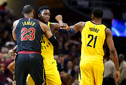 April 25, 2018 - Cleveland, OH, USA - The Cleveland Cavaliers' LeBron James (23) hugs the Indiana Pacers' Victor Oladipo before tip-off in Game 5 of a first-round playoff series on Wednesday, April 25, 2018, at Quicken Loans Arena in Cleveland. (Credit Image: © Leah Klafczynski/TNS via ZUMA Wire)