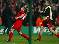 CARDIFF, WALES - Sunday, March 2, 2003: Liverpool's Michael Owen celebrates scoring the second goal against Manchester United during the Football League Cup Final at the Millennium Stadium. (Pic by David Rawcliffe/Propaganda)