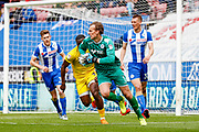 Wigan Athletic goalkeeper Christian Walton (1), on loan from Brighton & Hove Albion, in action  during the EFL Sky Bet League 1 match between Wigan Athletic and AFC Wimbledon at the DW Stadium, Wigan, England on 28 April 2018. Picture by Simon Davies.