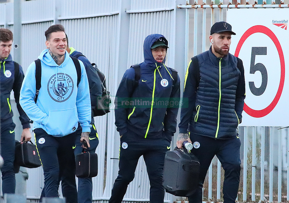 The Manchester City team get the train to London on Friday for their Premier League match against Chelsea¦. Ederson, Gabriel Jesus, and Nikoilas Otamendi.