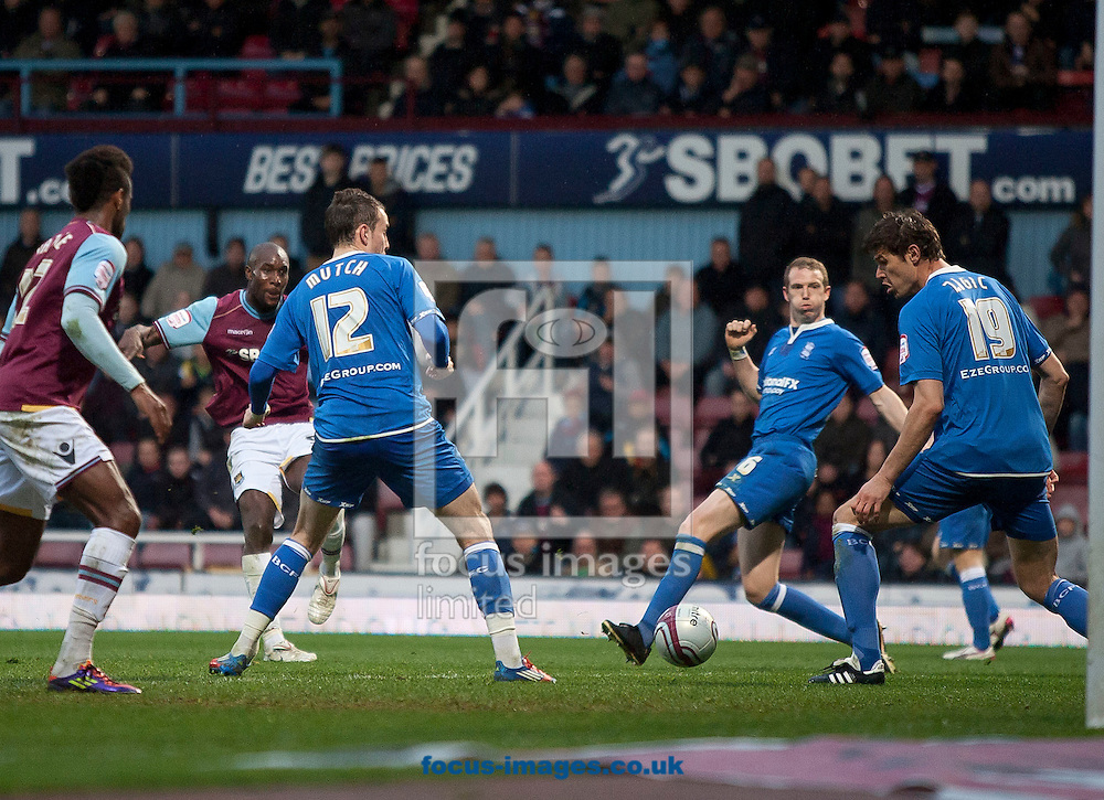 Picture by Daniel Chesterton/Focus Images Ltd. 07966 018899.09/04/12.Carlton Cole of West Ham scores his side's second goal during the Npower Championship match at the Boleyn Ground stadium, London.