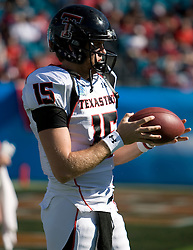 Texas Tech quarterback Taylor Potts (15) before the start of the Gator Bowl.  The Texas Tech Red Raiders defeated the Virginia Cavaliers 31-28 in the 2008 Konica Menolta Gator Bowl held at the Jacksonville Municipal Stadium in Jacksonville, FL on January 1, 2008.