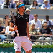 PARIS, FRANCE June 06.  Alexander Zverev of Germany in action against Novak Djokovic of Serbia on Court Philippe-Chatrier during the Men's Singles Quarter Final match at the 2019 French Open Tennis Tournament at Roland Garros on June 6th 2019 in Paris, France. (Photo by Tim Clayton/Corbis via Getty Images)