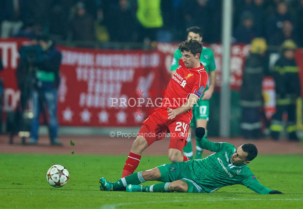 SOFIA, BULGARIA - Wednesday, November 26, 2014: Liverpool's Joe Allen in action against PFC Ludogorets Razgrad during the UEFA Champions League Group B match at the Vasil Levski National Stadium (Pic by David Rawcliffe/Propaganda)