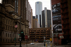 Scenes of downtown Detroit showing the GM headquarters,