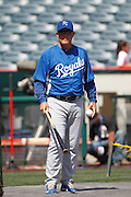 ANAHEIM, CA - APRIL 07:  Ned Yost #3 of the Kansas City Royals leads batting practice during the game against the Los Angeles Angels of Anaheim on Saturday, April 7, 2012 at Angel Stadium in Anaheim, California. The Royals won the game 6-3. (Photo by Paul Spinelli/MLB Photos via Getty Images) *** Local Caption *** Ned Yost