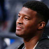 LOS ANGELES, CA - MAR 09: American football quarterback for the Tampa Bay Buccaneers of the National Football League Jameis Winston is seen during a game on March 09, 2019 at the Staples Center, in Los Angeles, California.