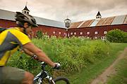 Mountain biking on the Kingdom Trails in East Burke, Vermont.