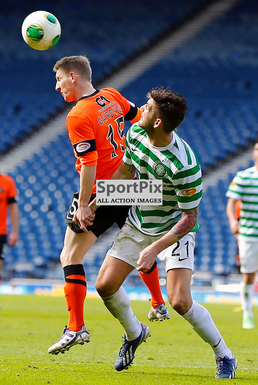 Dundee United v Celtic Scottish Cup Semi Final..Michael Gardyne reaches higher than Charlie Mulgrew.....(c) STEPHEN LAWSON | StockPix.eu