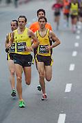 Head of the popular race. Juan Antonio Cuadrillero winner of San Silvestre popular race, Javier Ramirez and Abdelilah Foursi Bourjal