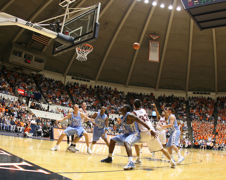 J. R. Reynolds (2) shoots a free throw against North Carolina.  Reynolds was 9 for 12 from the line, with 16 points in the game as UVA won, 72-68.