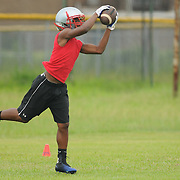 Trell Brown of the Pender High School football team practices at the school Friday August 1, 2014. (Jason A. Frizzelle)