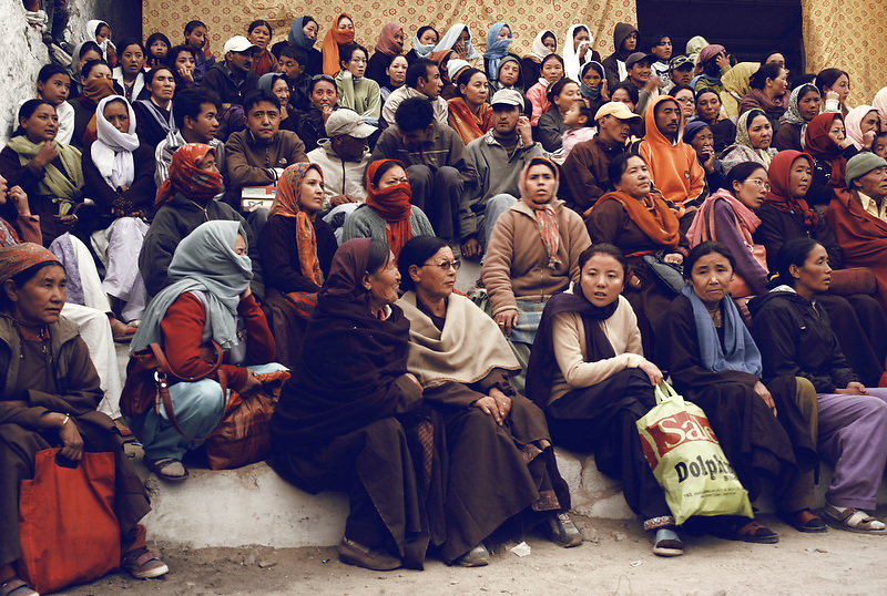 A group of spectators watch a musical event as part of the Ladakh festival, Ladakh, India on Sep. 11, 2007.