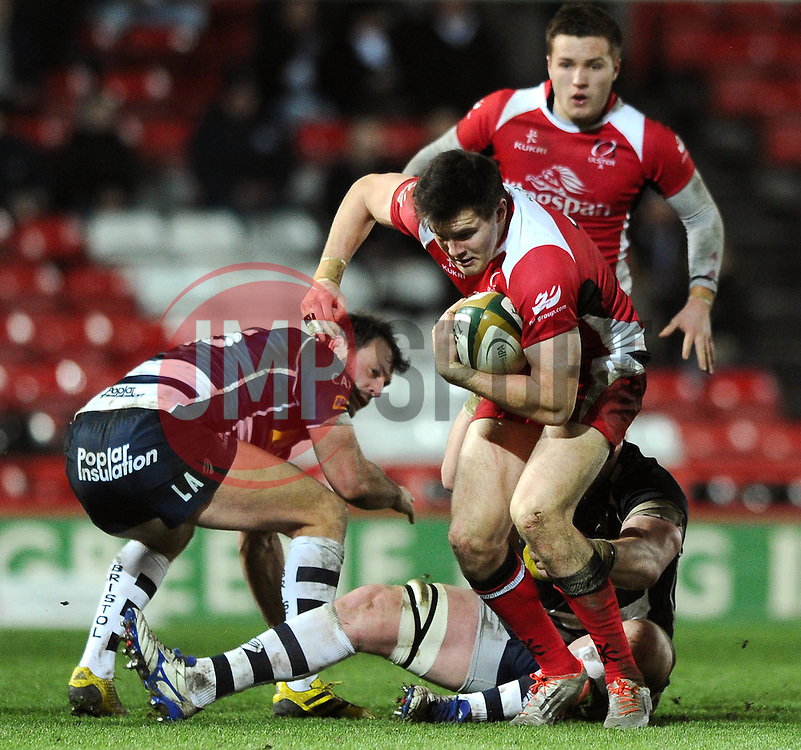 Ulster Left Wing Jacob Stockdale breaks away from a tackle - Mandatory byline: Dougie Allward/JMP - 22/01/2016 - RUGBY - Ashton Gate -Bristol,England - Bristol Rugby v Ulster Rugby - B&I Cup