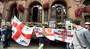 In Whitehall outside the Lord Moon pub where EDL supporters were drinking before the march set off.<br /> <br /> English Defence League <br /> protest at Charing Cross with a counter Unite Against Fascism protest on Victoria Embankment <br /> 24th June 2017 <br /> <br /> General View and Metropolitan Police containing the march. <br /> <br /> Photograph by Elliott Franks <br /> Image licensed to Elliott Franks Photography Services