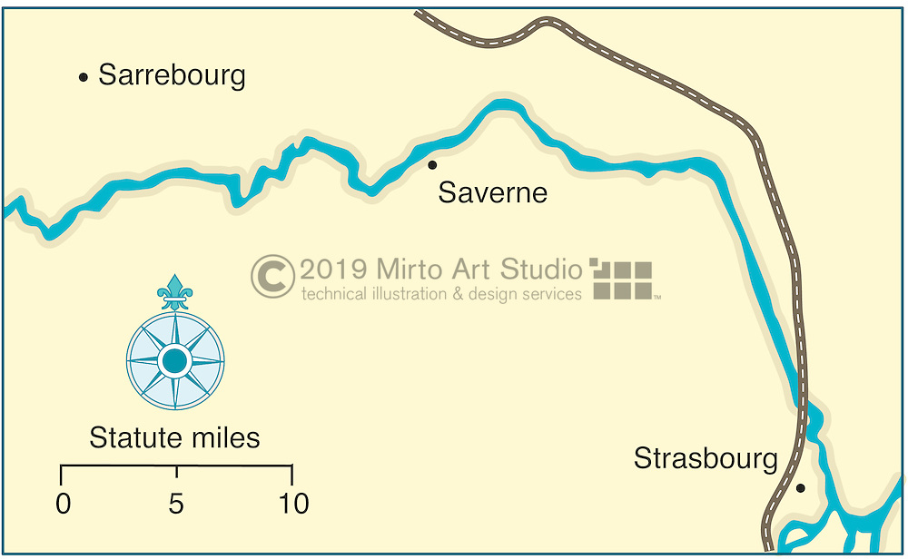 Vector map of French Canal