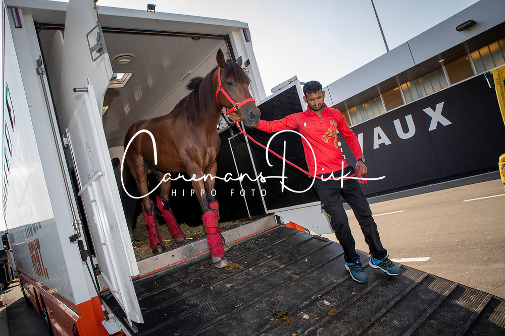 Endurance Team Bahrain<br /> Departure horses from Liege Airport<br /> FEI World Equestrian Games™ Tryon 2018<br /> © Hippo Foto - Dirk Caremans<br /> 01/09/2018